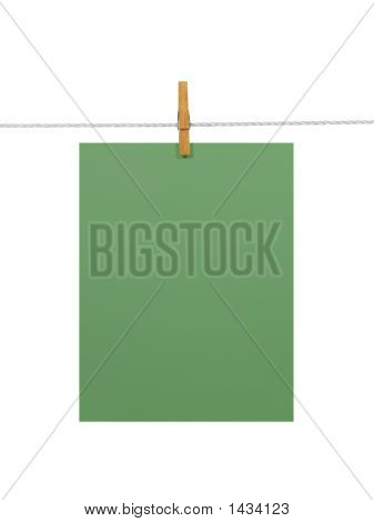Green Paper Sheet On A Clothes Line (+2 Clipping Paths)