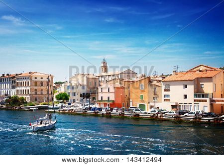 old harbor of Martigues, Provence, Cote dAzur of France, toned