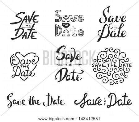 Set of vector hand drawn typography design element for greeting cards or invitations. Save the date calligraphy phrases. Unique lettering. Vintage templates. Art isolated on white background.