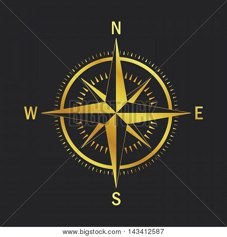 Isolated vector compass. Vector geo mark Wind Rose. Rose Wind in lineal style. Image of Compass for Columbus Day. Vector marine wind rose for travel navigation design.