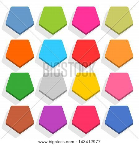 16 blank icon in flat style. Pentagon 3D button with shadow on white background. Blue red yellow gray green pink orange brown violet colors. Vector illustration web design element in 8 eps