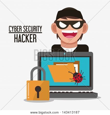 padlock laptop file bug hacker cyber security system technology icon. Flat design. Vector illustration