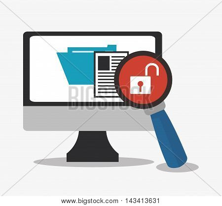 padlock computer lupe file cyber security system technology icon. Flat design. Vector illustration
