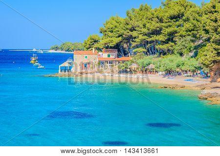 Coastal view at Island of Brac, summertime in Croatia, Europe touristic destination.