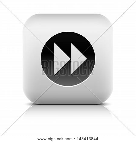 Web Icon with arrow forward sign in black circle. Rounded square internet button with reflection and shadow on white background. Series in a stone style. Vector illustration design element in 8 eps
