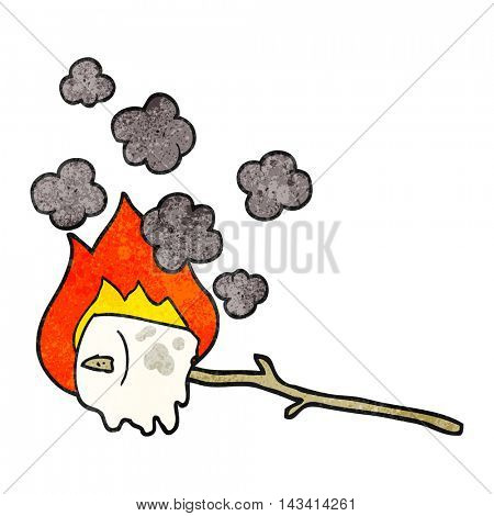 freehand textured cartoon burning marshmallow