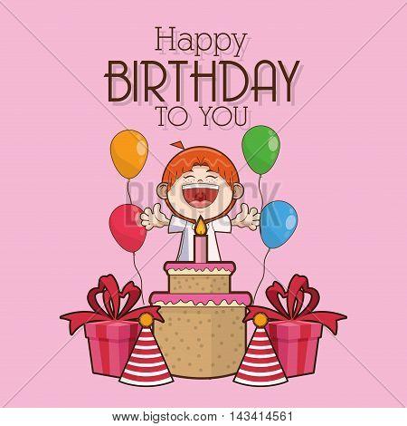 kid boy cartoon cake scream celebration happy birthday icon. Colorful design. Vector illustration