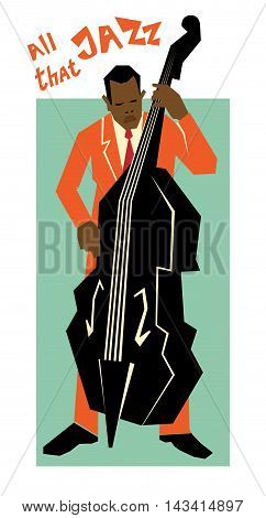 Retro jazz music concept double bass man old school vector illustration for advertising posters and cover Jazz Festival