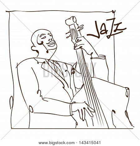 Retro jazz music concept double bass man sketch old school vector illustration for advertising posters and cover Jazz Festival