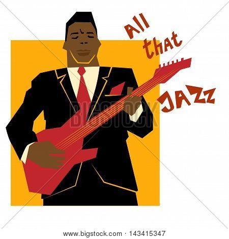 Retro jazz music concept guitar man old school vector illustration for advertising posters and cover Jazz Festival