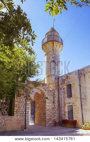 old turkish mosque in the quarter of artists of of the old city Safed, Upper Galilee, Israel