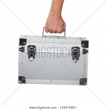 Silver Metal Briefcase In Hand Isolated On White