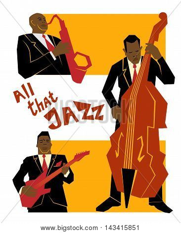 Retro jazz music concept jazz band old school vector illustration for advertising posters and cover Jazz Festival