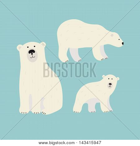 White polar bears set in cartoon style for mascot or logo design