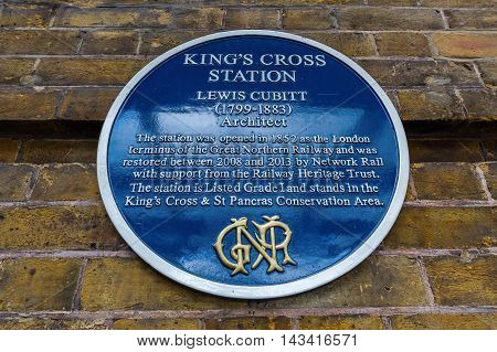 London UK - June 16 2016: plate of with description of the Kings Cross railway station. It is a major London railway terminus which opened in 1852