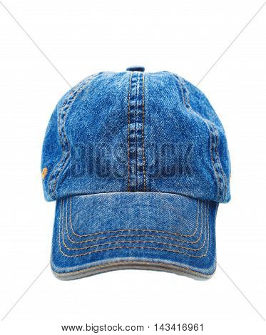 Jeans Working Peaked Cap. Front View. Isolated On A White Backgr