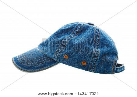 Jeans Working Peaked Cap. Side View. Isolated On A White Backgro