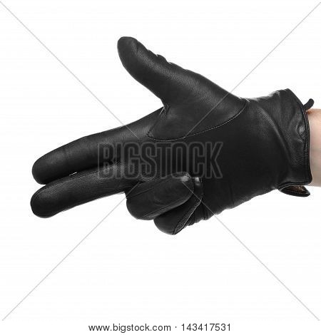 Human Hand In Black Leather Glove Making Shooting Gesturing,