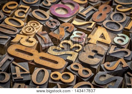 numbers background - vintage letterpress wood type printing blocks