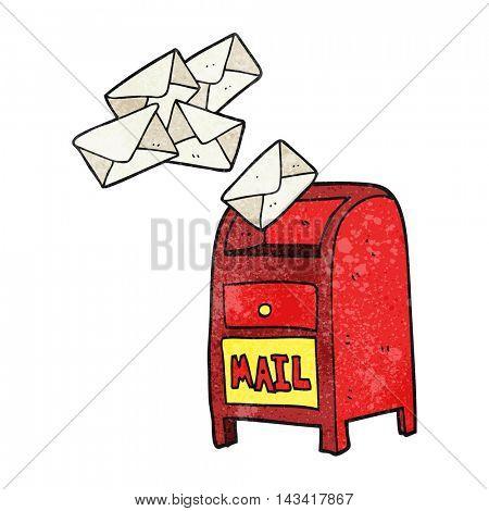 freehand textured cartoon mail box