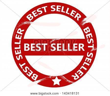 Best selller stamp isolated on white background