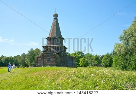 NOVGOROD RUSSIA - July 19.2009: Old timber church in the territory of the museum complex Vitoslavlitsy