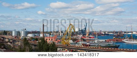 View Of The Port, Cranes And Containers And Loading Cargo Ship