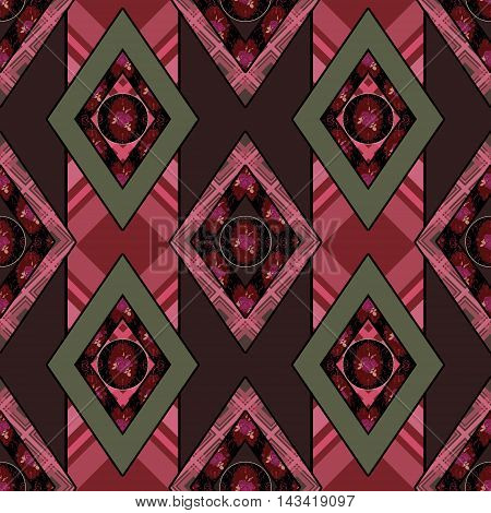 Patchwork seamless pattern checkered ornament retro design background