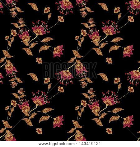 Seamless floral pattern background flowers ornament wallpaper textile Illustration