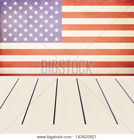 Empty wooden white table over USA flag background. Independence day 4th of July background. Ready for product display montage.