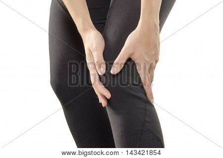 Young Woman Having Knee Pain.