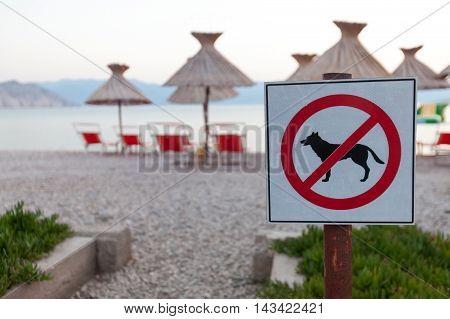 Signs Announcing The Ban On Dogs On The Beach.