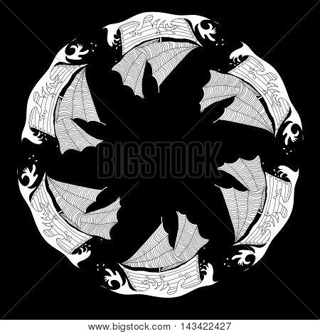 Vector illustration with uncolored ships. Circle pattern.
