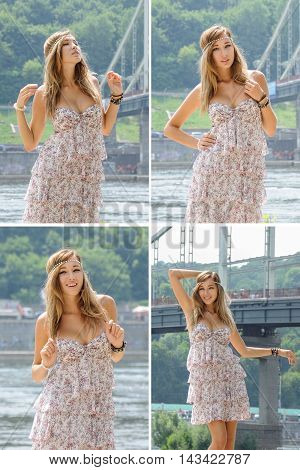 Outdoors fashion photo of beautiful bohemian lady in floral dress with frills at river background