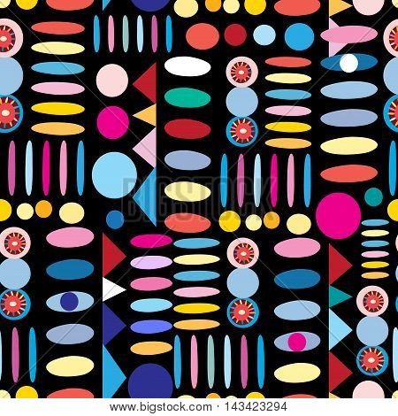 Geometry seamless pattern colorful spots on a dark background