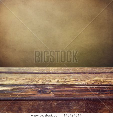 Vintage empty wooden counter background for product placement