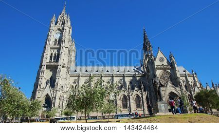 Quito, Pichincha / Ecuador - August 20 2016: Tourists in the Basilica of the National Vow is located in the historic center of Quito. It is the largest neo-Gothic basilica in the Americas
