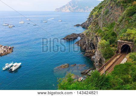 Railroad Tunnel At The Coast Of Vernazza