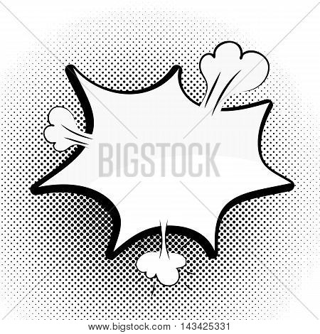 Speech black bubble Pop-Art Style. lichtenstein pop art. Pop art comic background space for coments. Explosion bubble collision - funny balloon comics book background template. Vector illustration