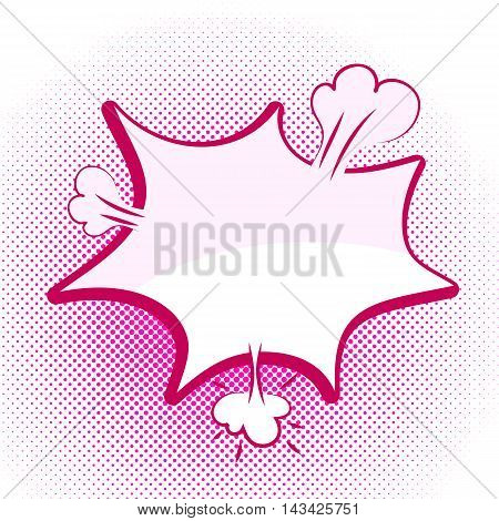 Speech pink bubble Pop-Art Style. lichtenstein pop art. Pop art comic background space for coments. Explosion bubble collision - funny balloon comics book background template. Vector illustration