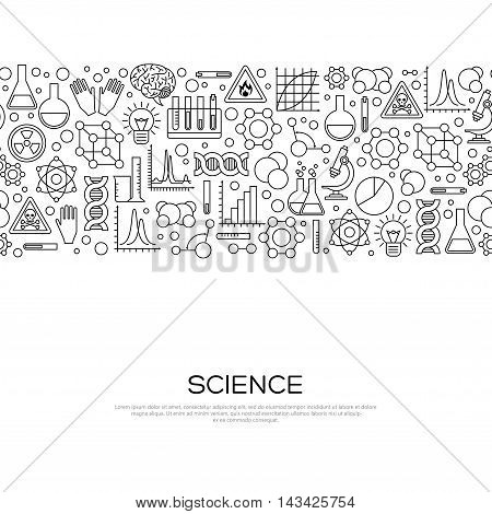 Seamless Border with Science Black Line Icons in Modern Style. Vector Illustration. Scientific Research Banner with Chemical Experiment Tools. Concept for web banners and promotional materials.
