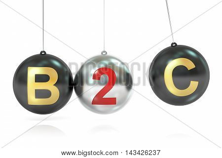 B2C balancing concept 3D rendering isolated on white background