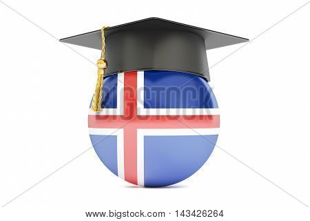 education and study in Iceland concept 3D rendering isolated on white background