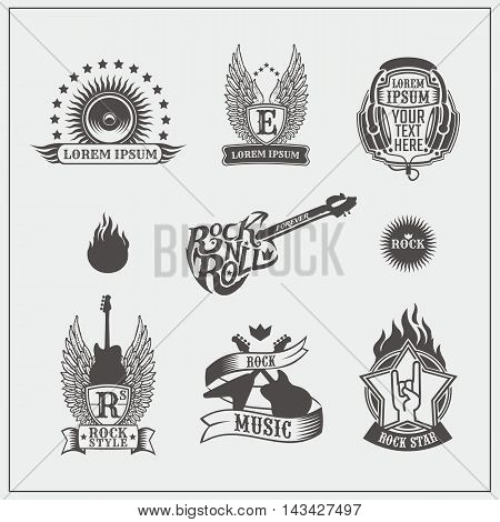 Set of Rock 'n' Roll labels and badges. Vector illustration.