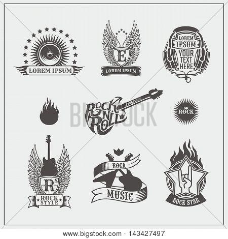 Set of Rock 'n' Roll labels and badges. Vector illustration.