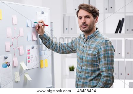 Man in casual clothes taking notes on whiteboard in office interior with shelves and binders. Concept of startup foundation