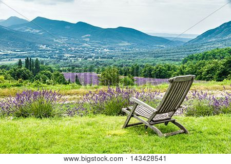 Relaxing chair facing the lavender fields in a cloudy day