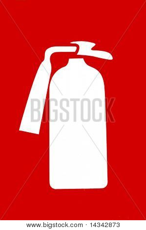 Red sign with symbol of fire extinguisher