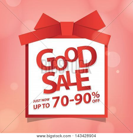 Good Sale Heading Design Like A Gift Box On Pink Bokeh  For Banner Or Poster. Sale And Discounts Con
