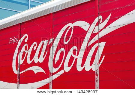 NEW YORK USA - JULY 11 2014: Photo of Coca cola truck.The Coca-Cola Company is an American beverage corporation and manufacturer of nonalcoholic beverage concentrates and syrups.